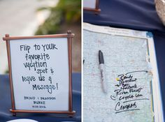 Guests find their favourite spot in the world in a book of maps and leave a message for the happy couple | 27 Travel-Inspired Wedding Ideas You'll Want To Steal