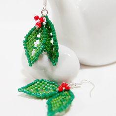694f0468f Beaded Mistletoe Earrings Seed Bead Earring Sterling by BeadCrumbs Seed  Bead Bracelets, Seed Bead Earrings