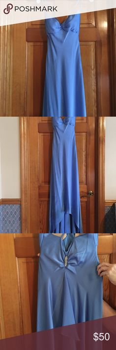Gently used, blue satin prom dress Blue satin dress. No tips or tears. Has a super cute accent on the back David's Bridal Dresses Prom