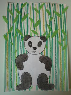 Étape 1: A l'aide de craies grasses et d'encre verte chaque enfant trace des lignes verticales pour représenter les tiges des bambous Étape 2: Il faut maintenant coller les feuilles de…