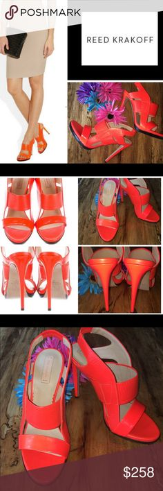 """Reed Krakoff - NOWB -Bright Orange Stiletto Heels Reed Krakoff- Brilliant bright orange designer 5"""" stiletto heels made in Italy. Calf combination patent and textured leather straps. Platform is about .5"""". UK size 39/ US size 9 REALLY 8.5. & me perfectly & I'm a """"Fred Flintstone"""" (per my hubby) toes. Really fantastic color! Gives a neutral style that extra pop of color. Elastic back on ankle. Absolutely perfect!  Smoke free home. Check out my bundle discount! Reed Krakoff Shoes"""