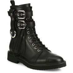 Giuseppe Zanotti Leather Combat Boots (20.656.805 IDR) ❤ liked on Polyvore featuring shoes, boots, ankle booties, čizme, sapatos, tops, apparel & accessories, black, black military boots and black combat boots