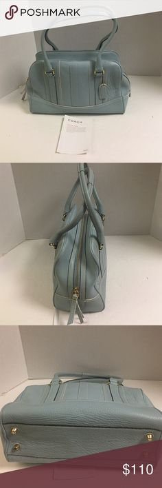 New coach Hamiltonleather powder blue satchel This is an authentic coach powder blue pebble leather satchel. New without tag. Comes with care card. Features goldtone hardware. Double handles with 9 inch drop. Double zipper pull closure. Inside lining is sateen.  Zipper pocket and to slip pockets inside. No dust bag Coach Bags Satchels