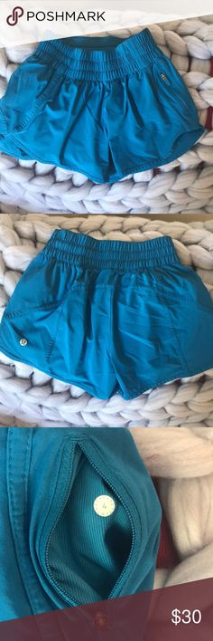 Lulu lemon tracker shorts Lululemon tracker shorts. Worn once- a little too tight for me. Deep blue. Size 4 but I think fits more like a 2 lululemon athletica Shorts