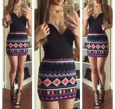 Blue black pink and white tribal print pencil skirt, black top.. i love this