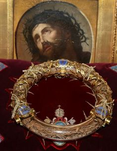 A crown of thorns which was believed by some to have been worn by Jesus Christ and which was bought by King Louis IX in 1239 is presented at Notre Dame Cathedral in Paris, March Christus Pantokrator, Crown Of Thorns, Madonna And Child, Paris City, Priest, Art Forms, Notre Dame, Cathedral, Fire
