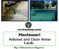 Earth Day - Educating about Ecology. Clean and Polluted water Printables Cards Montessori Material