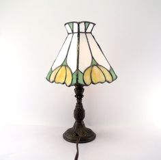 Stained Glass Accent Lamp White Yellow Green Handmade  Creation by Debbie Martens on Etsy. Absolutely beautiful.  Awesome shop.