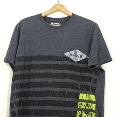efc2a9b5a68fd9 Details about Hurley Dark gray Graphic Tee t-shirt Size XL Striped design