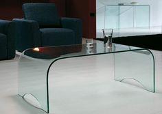 Elegant Glass Rectangular Curved Coffee Table