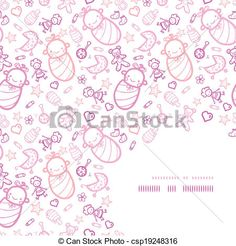 Baby girls corner frame pattern background - csp19248316
