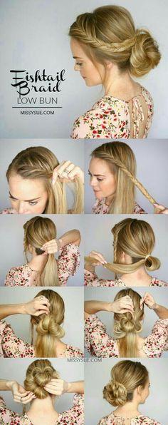 Fishtail Braid Low Bun Hair Tutorial – Bun Tutorial … - All For Bride Hair Style Braided Updo, Braided Hairstyles, Bun Braid, Fishtail Braids, Dutch Braids, French Braids, Easy Hairstyle, Braiding Bangs, Bangs Updo