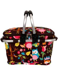 $12.25 Owl Give a Hoot Collapsible Insulated Market Basket with Lid