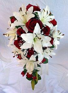 Teardrop Wedding Bouquet Ivory Lillies Burgundy Roses Pearl Loops | eBay