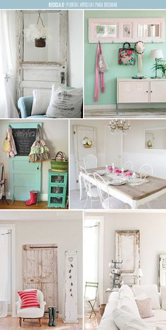 Ideas para reciclar una puerta antigua. Puedes convertirla en una mesa de comedor, en un cabecero o en un simple elemento de decoración bonitista. Casa Art Deco, Art Deco Home, Home Design Decor, Diy Home Decor, Interior Design, Home Staging, My Room, House Colors, Room Inspiration