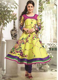 Shop Online Mustard Chanderi Cotton Silk #AnarkaliSuits @Chennaistore.com