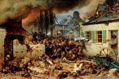 Adolf Northen - Attacking the Prussians in Plancenoit in the Battle of Waterloo, 1863