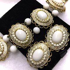 Vintage 1960s 1970s Wide Link Bracelet Set White by bonitalouise