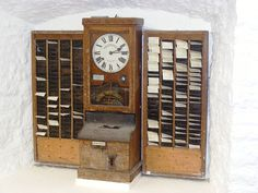 Time clock, made by National Time Recorder Co. of Blackfriars, London at Wookey Hole Caves museum. Computer Companies, Vintage Office, Time Clock, Inventions, Old Things, Records Management, Resource Management, Management Company, Furniture