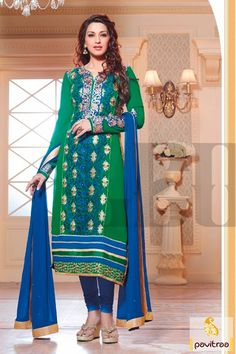 Pavitraa specially offers the green blue party wear Salwar Suit which is lace patti worked, stone and embroidered. An elegant chiffon and georgette made.