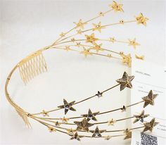 Wedding Bridal Crystal Rhinestone Gold Star Hair Accessories Headband Comb Tiara
