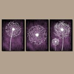 DANDELION Wall Art Purple Bedroom Canvas or Prints Bathroom Wall Art Bedroom Pictures Flower Wall Art Dandelion Set of 3 Wall Art Home Decor