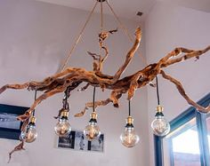 This unique photo is genuinely an interesting design principle. Driftwood Chandelier, Branch Chandelier, Twig Furniture, Rustic Wood Furniture, Rustic Lighting, Eclectic Decor, Home Deco, Diy Bedroom Decor, Light Fixtures