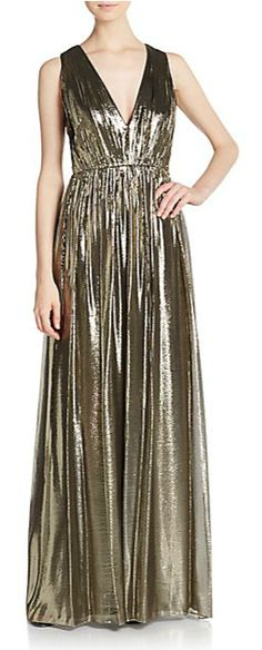 Alice + Olivia | Issa Metallic Plunge Gown | SAKS OFF 5TH