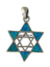 Silver and Opal Double Star of David Pendant by aJudaica