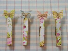 Beautiful Butterfly Clothespins | May Arts - want to make something similar to go in my kitchen on the fridge - also tempted to make a photo holder like the one featured, maybe for notes for the craft room? - love the look of these - can also decorate by painting or covering with fabric instead of paper - plenty of options - #Crafts #Clothespins #Papercrafts - pb†å