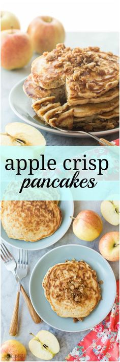 These Apple Crisp Pancakes are soft, fluffy cinnamon pancakes filled with shredded apple and topped with brown sugar crumble — a decadent weekend breakfast!