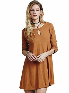 6a56eac515c Amazon.com  Free People Short Long Sleeve Easy Swing Dress XS-L We The Free  Top  Clothing