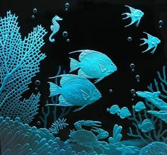 Glass Etching -upload by Luc Arent Fused Glass, Stained Glass, Glass Etching, Etched Glass, Sandblasted Glass, Glass Engraving, Fish Crafts, Fish Art, Mural Art