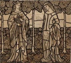 'Guinevere and Iseult' cartoon for a stained glass window by William Morris, produced in 1862.