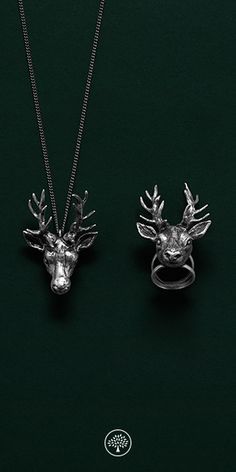 Introducing a new jewellery collection at Mulbery.com. This season our jewellery was inspired by Medieval and Victoriana costume jewels, fictional creatures and eye-catching gem stones. This deer collection features a vintage silver deer head in matching necklace and ring.
