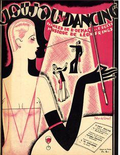 """Joujou de Dancing"" ~ 1927 Art Deco sheet music cover illustrated by Peter De Greef."