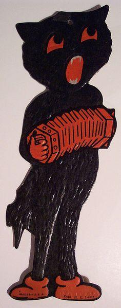 1960 Eureka \u0027Black Cat\u0027 Die Cut Decoration Four Sizes 4\ - halloween decorations black cat