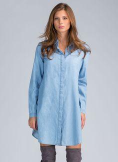 Double Up Slit Shirt Dress BLUE WHITE - GoJane.com