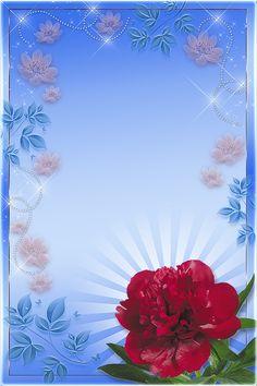 By Artist Unknown. Flowery Wallpaper, Flower Background Wallpaper, Frame Background, Flower Backgrounds, Paper Background, Flower Border Clipart, Christmas Letterhead, Picture Borders, Foto Frame