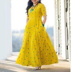 Elegant Geometric Round Neckline Maxi X-line Dress - Outfit Trends Kurta Designs, Saree Blouse Designs, Cotton Long Dress, Cotton Dresses, Indian Dresses, Indian Outfits, Anarkali Dress, Indian Designer Wear, Elegant Dresses