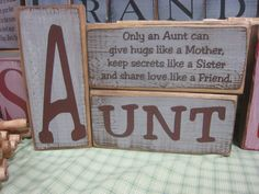 3pc Wooden Aunt Block Set. Aunt Only an aunt by ExpressionsNmore, $24.95