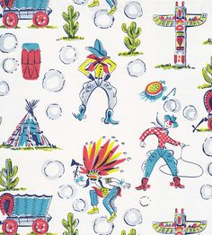 Vintage Dennison Gift Wrap Cowboys and Indians by hmdavid, via Flickr