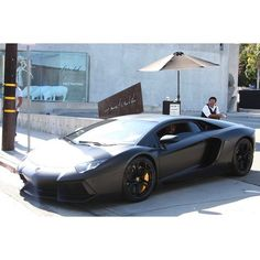 Kanye West Drives His Birthday Gift $750,000 Matte Black Lamborghini... ❤ liked on Polyvore featuring cars