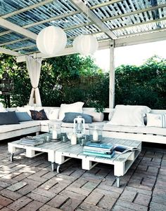Covered patio with pallet seating and tables