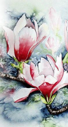 """""""Magnolie im Frost 2"""" Malerei als Poster und Kunstdruck von Maria Inhoven bestellen. - ARTFLAKES.COM"""