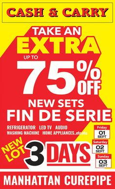 CASH & CARRY - Up to 75% OFF New Lot / Fin de Série