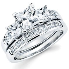 14k white gold engagement ring with princess-cut center stone, and 14k white gold wedding band