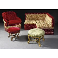 Two Napoleon III style giltwood rope stools after a design