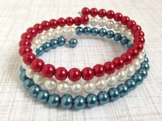 America The Beautiful Red White Blue Pearl Wrap Bracelet by HighStrungBeading via Etsy