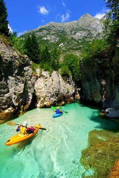 Kayaking on Soca River, Slovenia